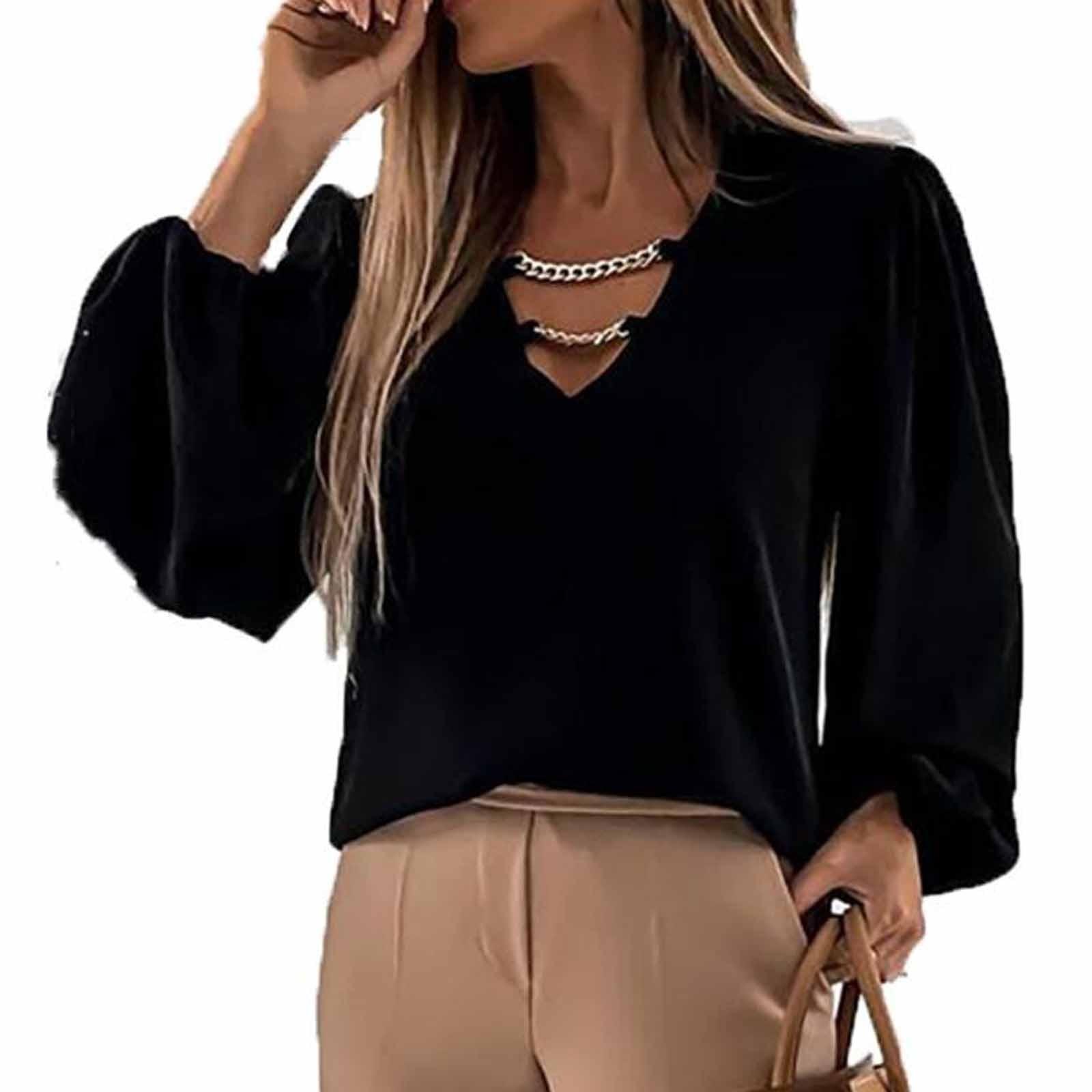 lantern Sleeve Chain Women's Blouses Fashion Spring Autumn Loose Long-sleeved Femme Clothing V-neck Western Style Female Shirt