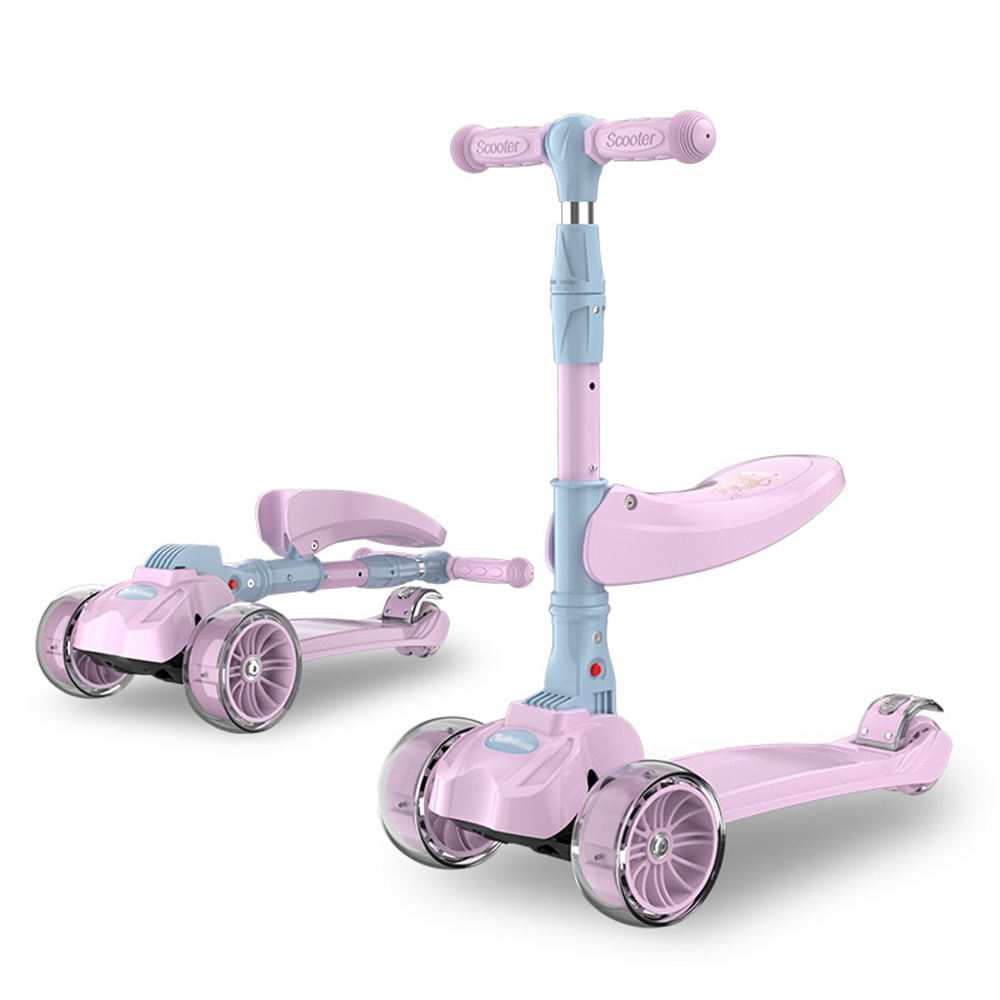 Foldable Kids Scooter Car For Kids 2-9 Years Old Skater Surf Scooter With Flashing Wheels Folding 2 In 1 Scooter Baby Walker