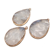 Wholesale White Water Drop Natural Stone Pendants Charms for Jewelry Making Necklace DIY Bracelets 50x33mm