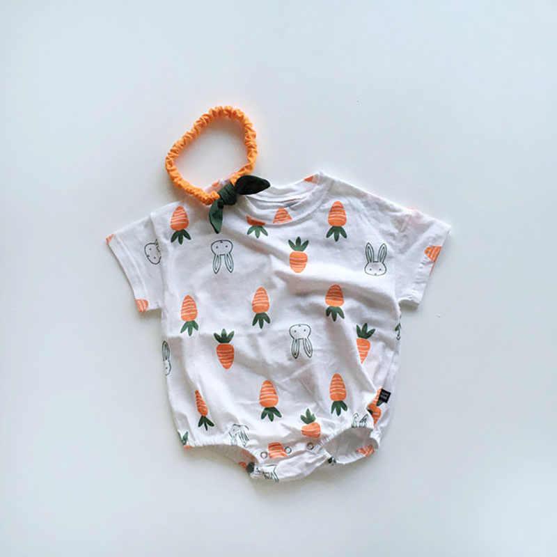 밀라노 아기 옷 귀여운 토끼 신생아 소녀 바디 슈트 당근 유아 소년 옷 아기 onesie 아기 머리띠