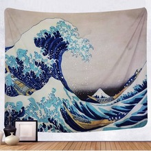 Wall-Hanging Tapestry Dorm-Decor Kanagawa Bedroom Living-Room Nature with Art for Great-Wave