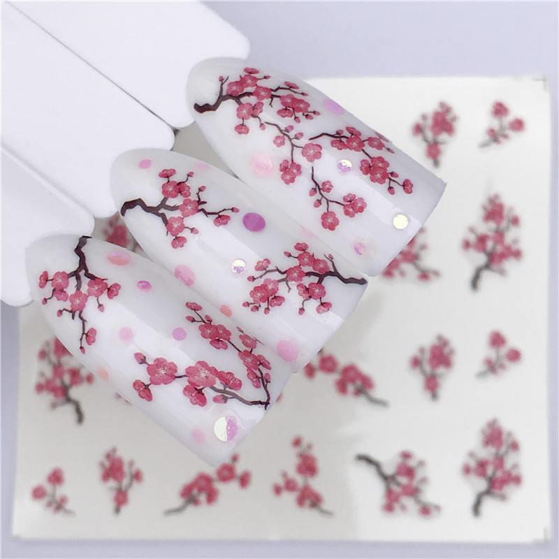 Plum Blossom 1 Sheet Water Transfer Nail Sticker Decals Fruit Cream Cake Cat Beauty Decoration Designs DIY Color Tattoo Tip