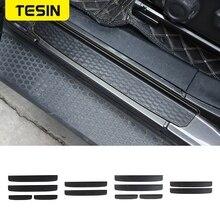 TESIN ABS عتبة باب السيارة الداخلية الحرس لوحة الحرس حامي دواسة غطاء ملصقات ل جيب رانجلر JL JT 2018 + سيارة التصميم