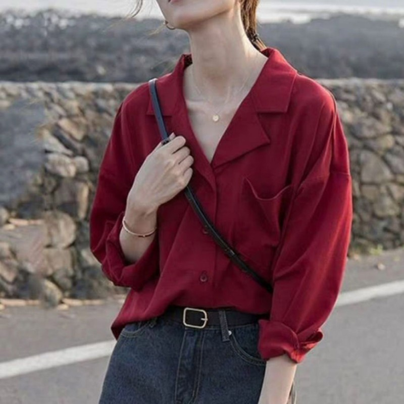 2019Women Autumn Long Sleeve <font><b>Wine</b></font> <font><b>Red</b></font> <font><b>Shirts</b></font> Sexy V Neck Vintage Top Blouses Loose Harajuku Japanese Clothes image