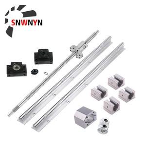 Set SFU1605 extremo de tornillo de bola mecanizado + carcasa de tuerca + soporte BKBF12 + acoplador + 2 uds soporte de carril lineal SBR20 + 4 Uds cojinete de bloque SBR20UU