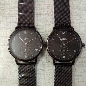 Image 5 - CL056 풀 블랙 브랜드 로고 사용자 정의 시계 정품 가죽 스트랩 자신의 로고 남자 시계 원래 디자인 reloj personalizado