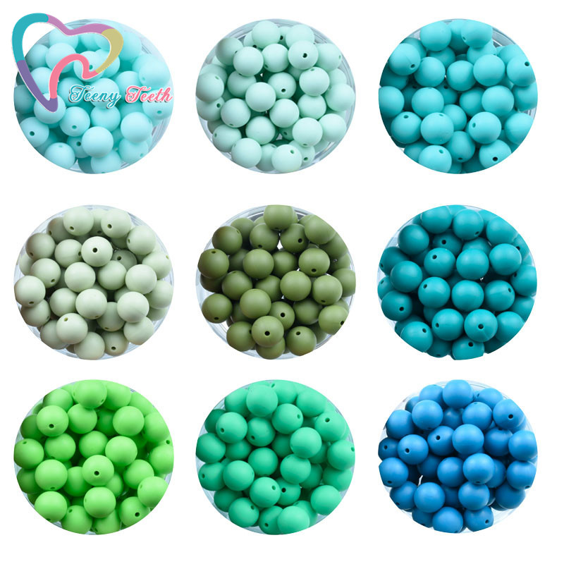 Image 4 - Teeny Teeth 100 PCS 45 Colors 12 15 MM Silicone Baby Teether Round Beads BPA Free Chewable Silicone Beads DIY Teething Toys-in Beads from Jewelry & Accessories