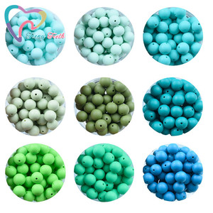 Image 4 - Teeny Teeth 100 PCS 45 Colors 12 15 MM Silicone Baby Teether Round Beads BPA Free Chewable Silicone Beads DIY Teething Toys