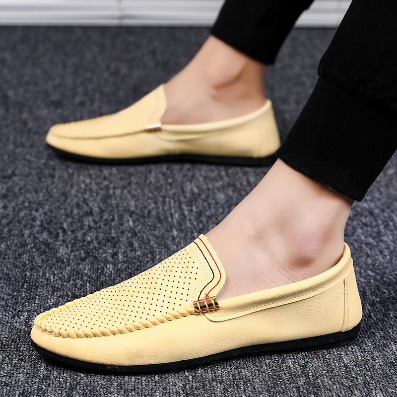 Italian Mens Shoes Casual Luxury Brand Summer Men Loafers Genuine Leather Moccasins Comfy Breathable Slip On Boat Shoes G51-05