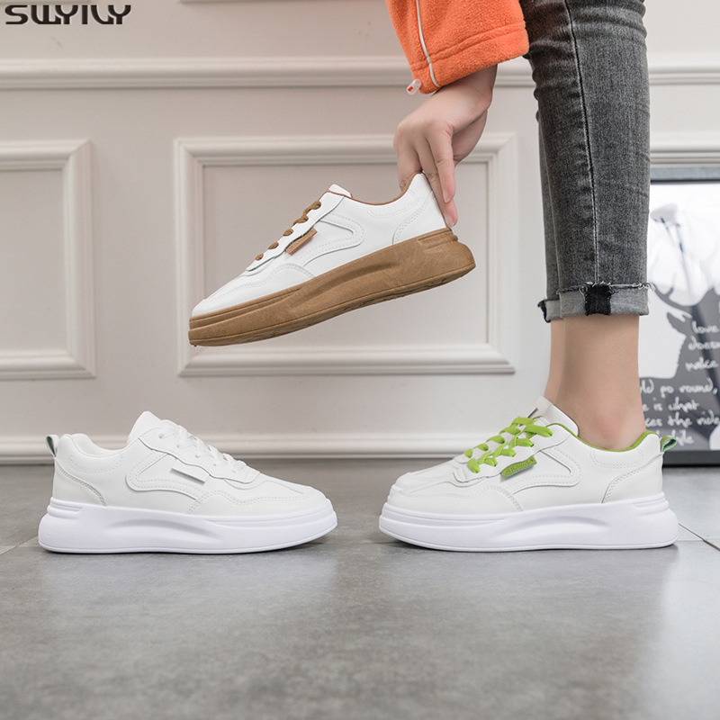 SWYIVY PU Casual Shoes Woman White Sneakers Ladies Flat Fashion 2020 Spring Mixed Colors Chunky Sneakers For Women Shoes Sewing
