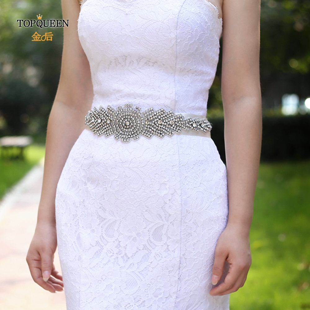 TOPQUEEN S23 Rhinestone Decoration Bridal Belt High Quanlity Girls Sash Belt Big Belts For Women Long Wedding Bridal Belt