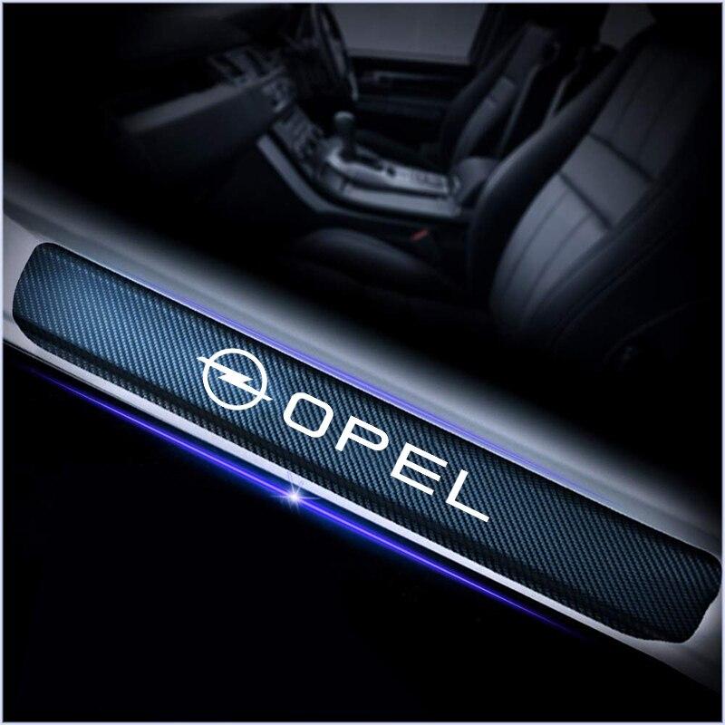 For Opel Astra H G J Insignia Mokka Zafira Corsa Vectra C D 4pcs Car Styling Carbon Fiber Anti Scratch Scuff Pedal Stickers