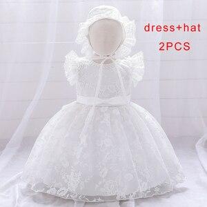 2020 flor Rosa recién nacido 1er vestido de cumpleaños para bebé niña ropa fiesta y vestidos de boda vestido blanco princesa Tutu Ceremonia