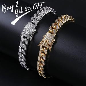 Image 2 - Topgrillz 10mm miami cubana corrente pulseira cobre ouro prata cor iced para fora micro pave cz pulseiras hip hop masculino jóias presentes