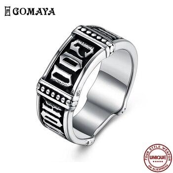 Anillo Retro de acero inoxidable GOMAYA para hombre, anillo moderno con diseño de texto misterioso, regalo de cumpleaños para amigo Simple, nueva gran oferta 2020