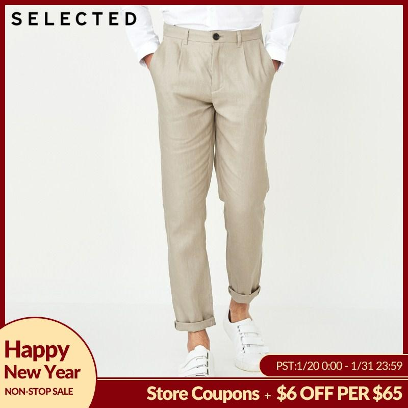 SELECTED   Autumn New Male Linen Straight Color Business Casual Pants S 418314506