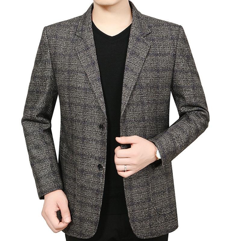 Man Elegant Wool Blazer Yellow Blue Plaid Pattern Woollen Blend Jacket Suits Male Business Smart Casual Notched Blazers Autumn