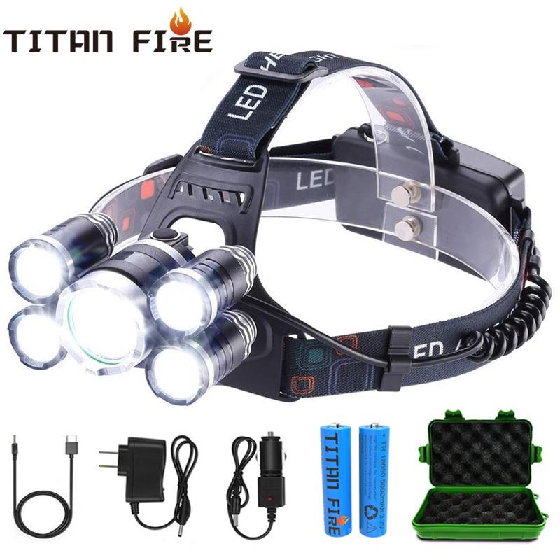 T30 LED Headlamp 50000LM 3/5 LED Light Ultra Bright Headlight USB Rechargeable 4 Modes Flashlight Waterproof  Fishing Hunting