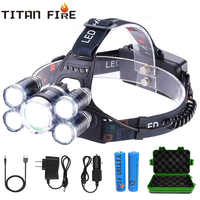 T30 LED Headlamp High Lumen 3/5 LED Light Ultra Bright Headlight USB Rechargeable 4 Modes Flashlight Waterproof Fishing Hunting
