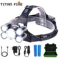 T30 LED phare haute Lumen 3/5 lumière LED Ultra lumineux phare USB Rechargeable 4 Modes lampe de poche étanche pêche chasse