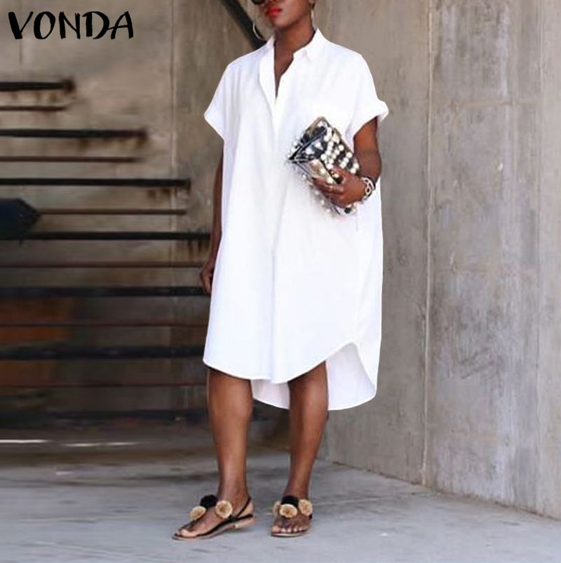 VONDA Party Shirts Women Long Tunic Casual Loose Sexy Lapel Neck Long Tops 2020 Summer Dress Female Plus Size Blouse S-5XL