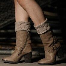 1 пара женских вязаных сапог вязаные гетры с манжетами зимние носки под сапоги гетры модные зимние теплые вязаные гетры