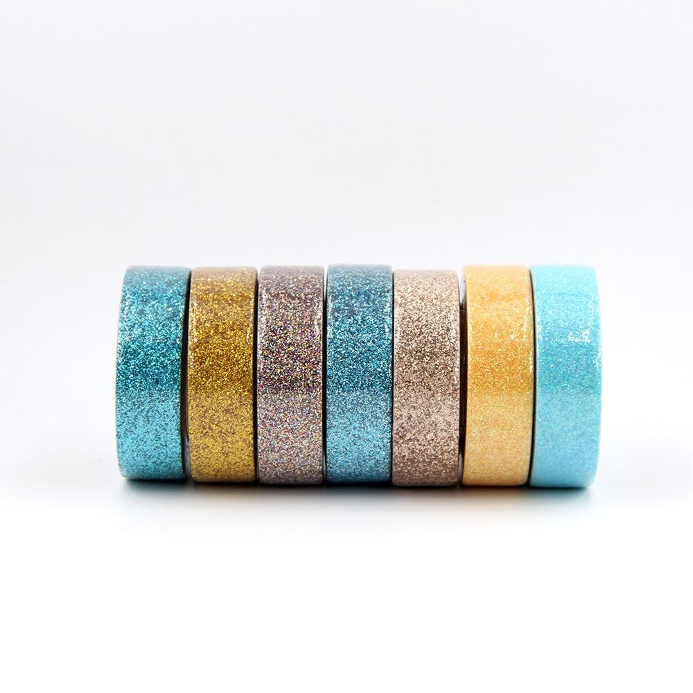 Купить с кэшбэком 15mm*5m Glitter Washi Tape Set Japanese Stationery Scrapbooking Decorative powder Tapes Adhesive Tape Kawai Adesiva Decorativa