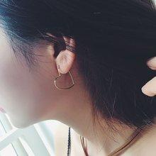 Модные Простые полые серьги кольца золотого цвета в форме сердца