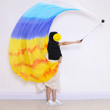 Belly Dance Silk Veil 250x114 cm Poi Chain Thrown Ball Women Streamer Stage Performance Props Rainbow Color Gradient Accessory