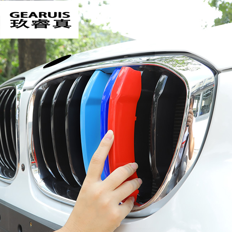 Car Styling For BMW X3 X4 F25 F26 G01 G02 Accessories Head Front Grille For M Sport Stripes Grill Covers Cap Frame Auto Stickers