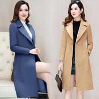Fashion New Cashmere Coat Women Autumn and Winter KoreanThin Waist Suit Collar Button Long Coat and Jacket Khaki Red Black Blue