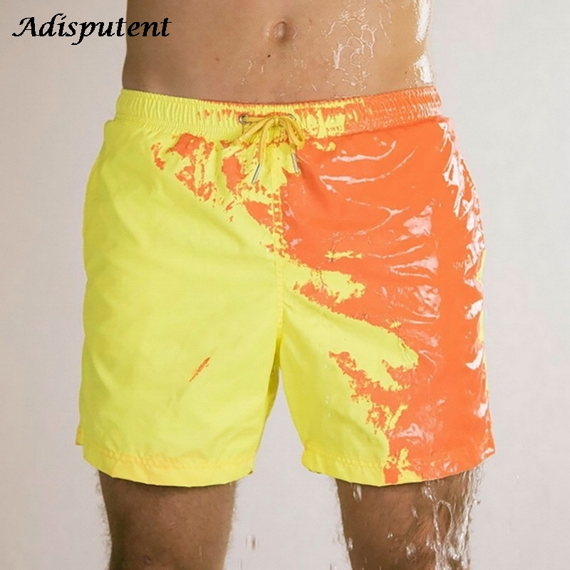Ship in 24 hours Beach Shorts Men Magical Color Change Swimming Short Trunks 2021 Summer Swimsuit Swimwear Shorts Quick Dry