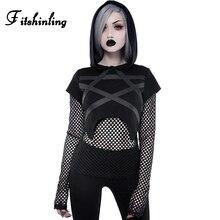 Fitshinling Goth Dark Pentagram Autumn T Shirt Women Mesh Patchwork Tops Tees Hooded Slim Gothic Black Female T-Shirt 2019 Sale