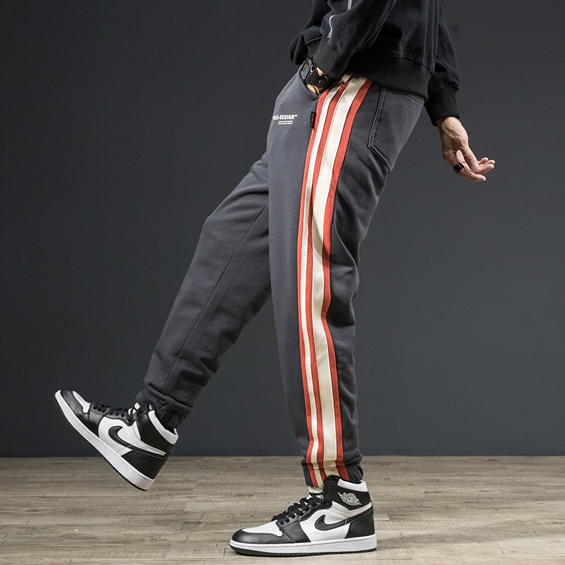 Autumn And Winter Hot Sales-Casual Trousers Men's Japanese-style Loose-Fit Side Edge Heterochromatic Joint Elastic Waist Tou Shu