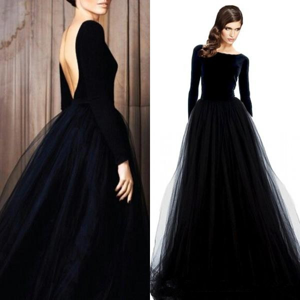 Stunning Long Sleeve Evening Gowns Velvet Black   Prom     Dress   Bateau Neck Open Back Tulle Skirt Floor Length Formal Wear Sleeves