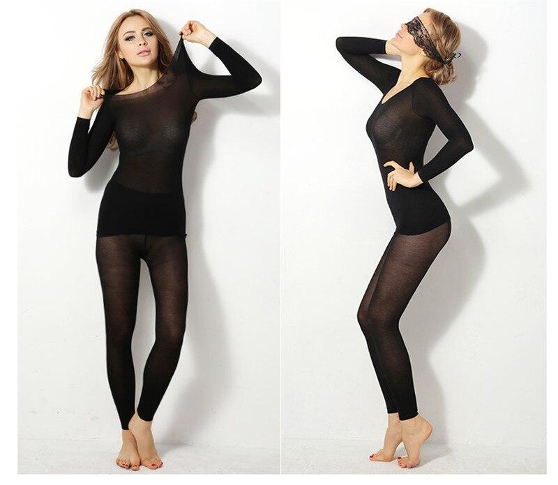 Winter Thicken Sexy Warmer Underwear Women Long Johns Top Bottom Set Long Sleeve  Inner Wear Thermal Underwear Warmer