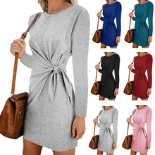 New womens dress, round collar bandwidth long sleeve autumn and winter comfortable self-cultivation