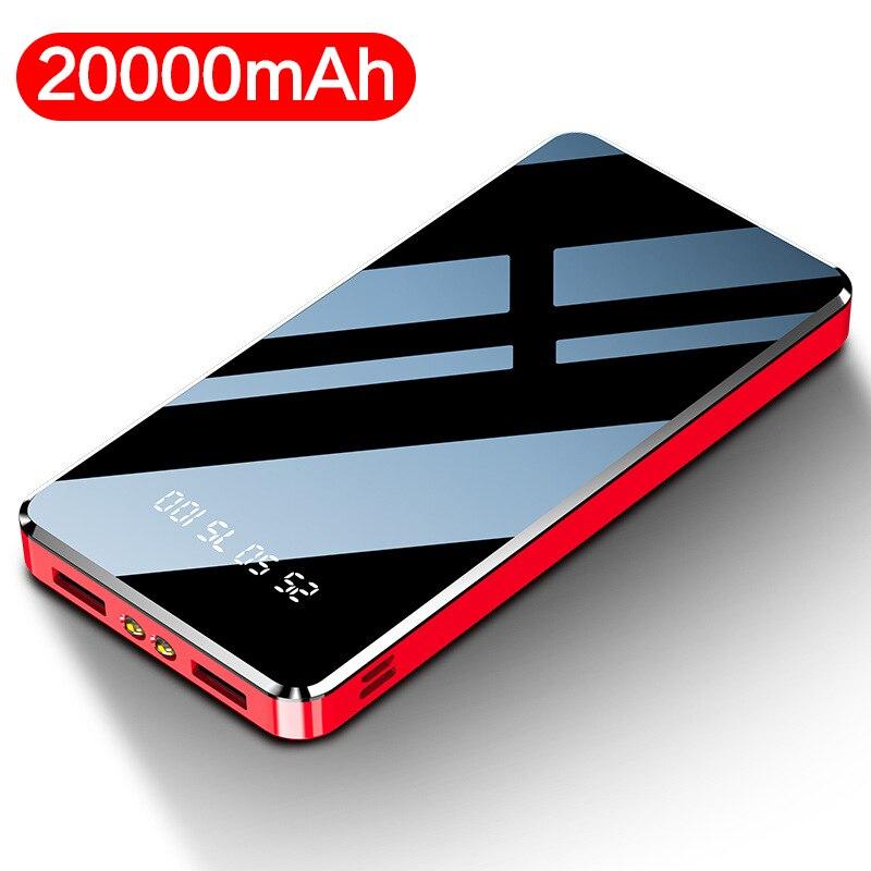 Cep telefonları ve Telekomünikasyon Ürünleri'ten Taşınabil. Güç Kay.'de 20000mah güç bankası harici pil 2 USB ayna ekran güç bankası taşınabilir cep telefonu iphone şarj cihazı X Samsung S10 Huawei title=
