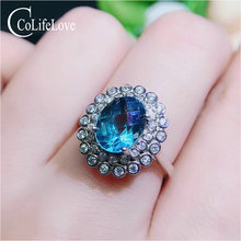 Colife jewelry fashion topaz ring for party 7*9mm natural silver