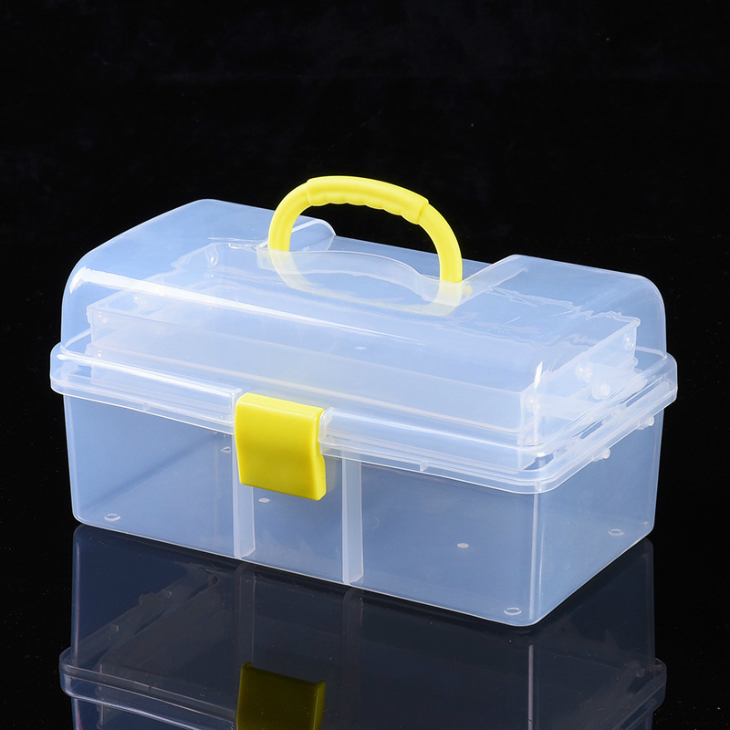 Transparent Plastic Three-layer Folding Toolbox Hardware Accessories DIY Tool Box Organizer Parts Case Storage Toolkit