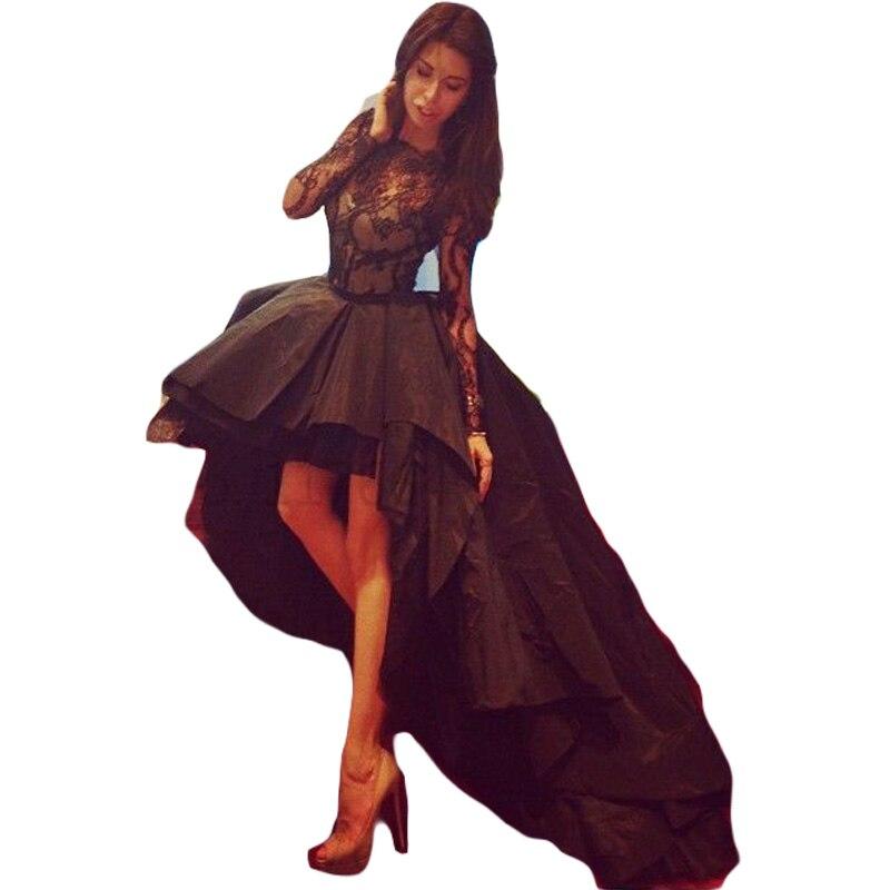 Vestido De Festa Curto Black Lace Mini Evening Prom Gown Long Sleeve Short Front Long Back Party Mother Of The Bride Dresses