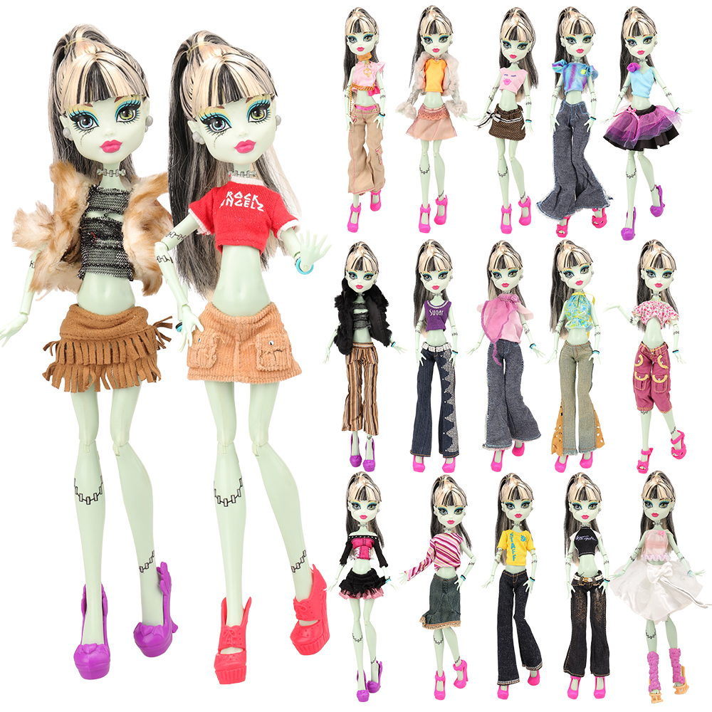 Newest Handmade High Quality 10 Items/set Doll Accessories Clothes Dress Pant Coat For Monster High Dolls Best Birthday Gift