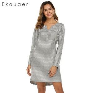 Image 2 - Ekouaer Ночная сорочка Осенняя Женская полосатая одежда для сна Повседневная Ночная рубашка с v образным вырезом карманная ночная рубашка Женская сорочка ночная рубашка