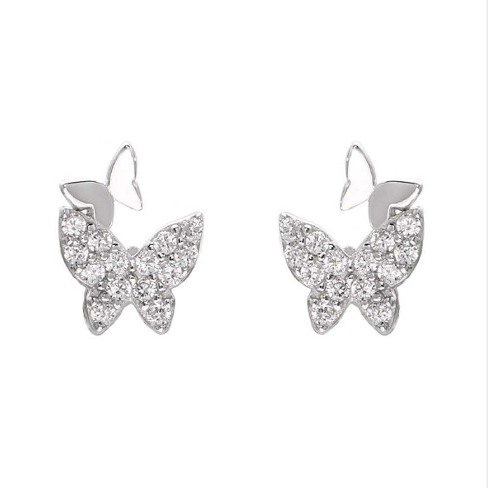 New Butterfly Small Stud Earrings Lovely Micro Paved Zirconia Shining Tiny Frosted Ear Accessories for Girls Simple Jewelry