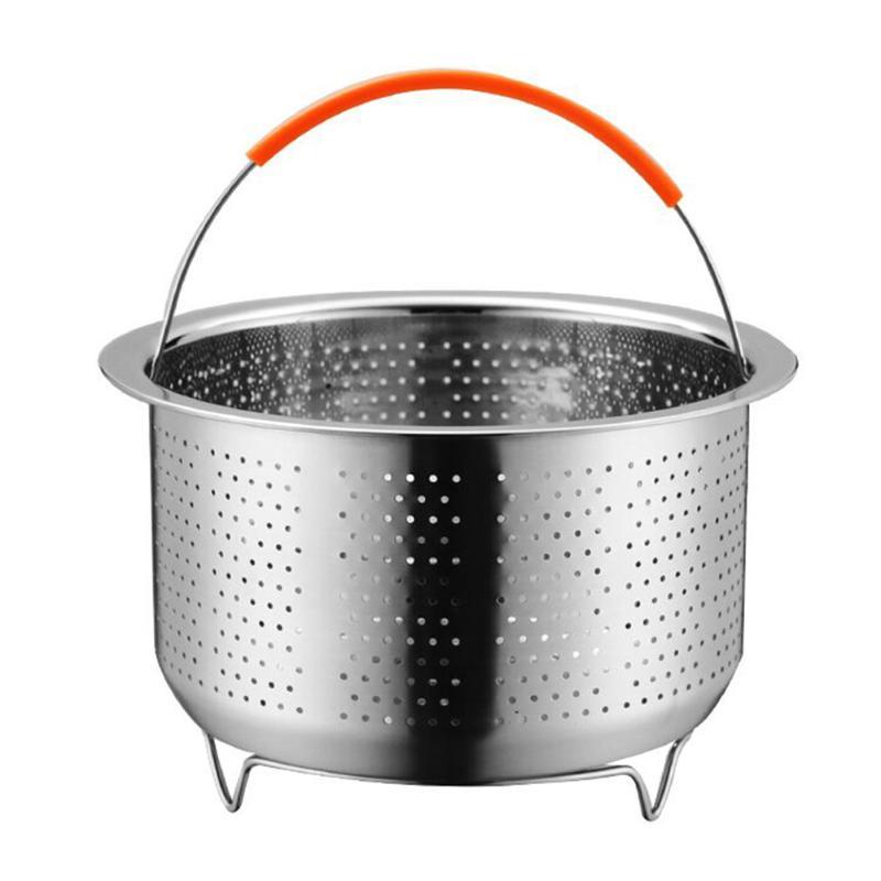 Practical Stainless Steel Multi-purpose Pressure Cooker Wear Resistance Fruit Cleaning Drainer Durable Steamer Basket