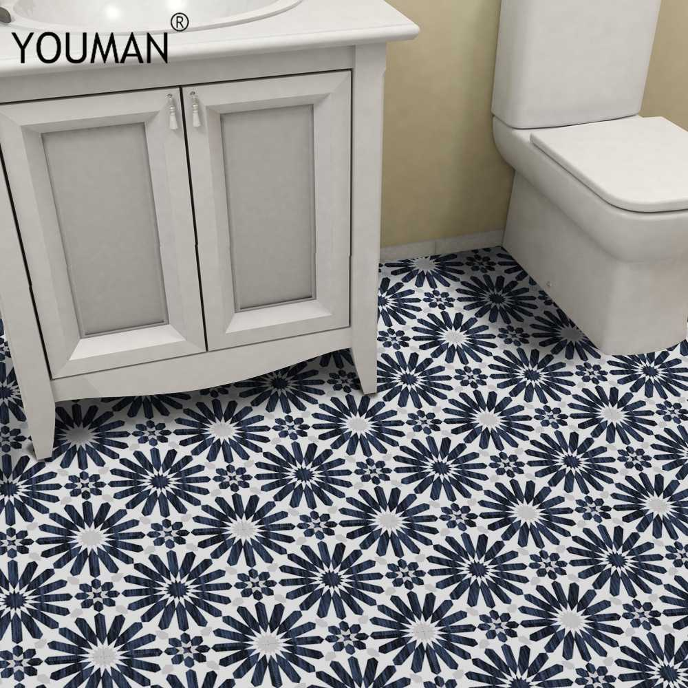 Youman Châu Âu Chống Nước Giả Ngói Dán Tường Retro Phòng Tắm PVC Tầng Decal Dán Tường DIY Trang Trí Nhà Nghệ Thuật Giấy Dán Tường Giáp
