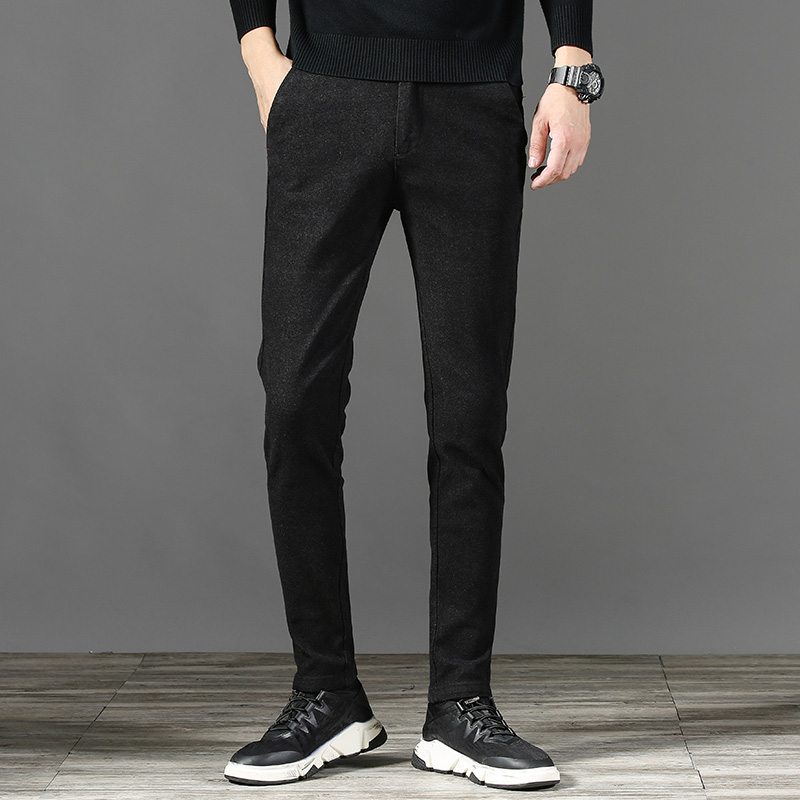2019 autumn new men's slim casual pants classic fashion stretch business black trousers men's brand clothing sanding casual pant