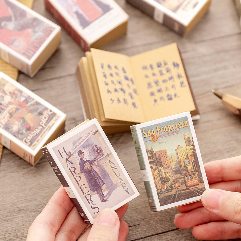 1pcs Mini Memo Pad Creative Matchbox Retro Notebook Can Tear Sticky Notes Kawaii Stationery Notepad Office School Supplies