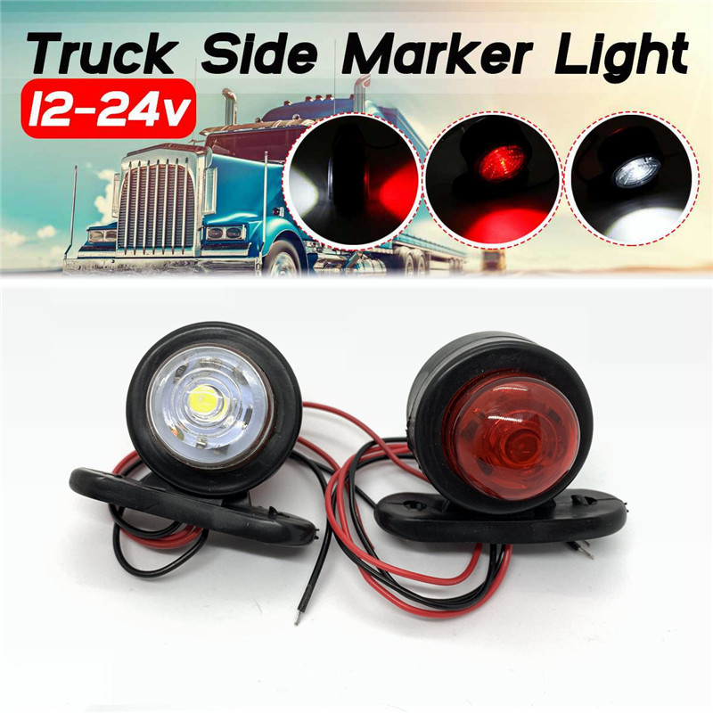 flexzon 10X Red White Corner Side Marker LED Lights Outline Lamp Truck Trailer Van Bus 12V