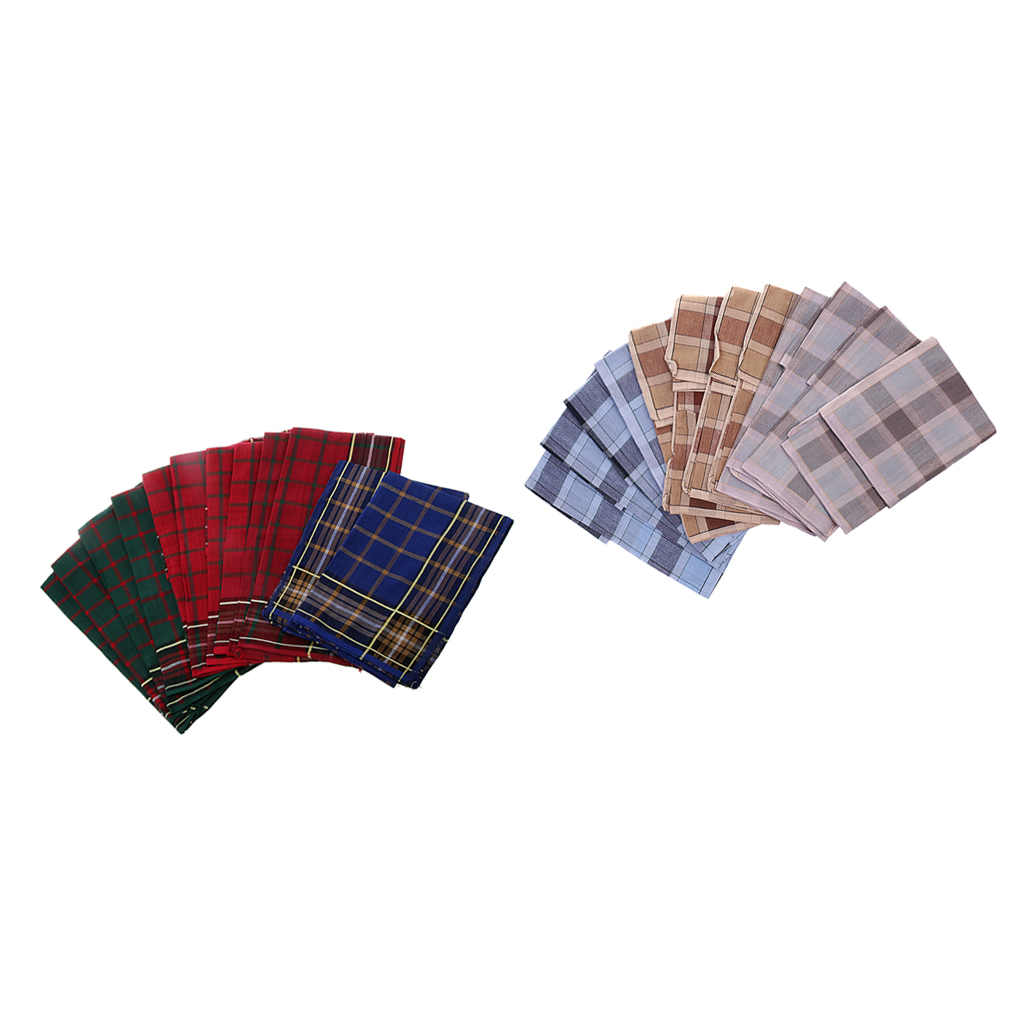 Pack Of 24pcs Men Plaid HANDKERCHIEFS Square Wedding Party Hanky Hand Towel